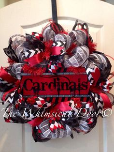 Arizona Cardinals Decomesh Red Black White NFL Football  Father's Day Wreath on Etsy, $55.00