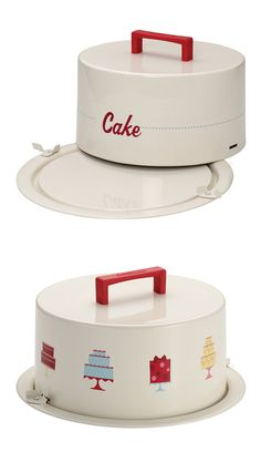 Vintage-style cake carrier with secure clip-on lid #product_design