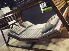 Outdoor daybed.... Or is it a hammock? Whatever you call it it's a pretty good excuse for a lazy day in the garden. From Rondo @Poznan FURNITURE FAIR HOME DECOR & ARENA DESIGN 2016 #interiordesign #homefashion #hometrends #homewares #furniture #europeansourcing #theefficienist #poland #polskidizajn #polskiewzornictwo #createdinpoland #madeinpoland #homedecor #outdoors #outdoor #garden