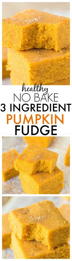 Healthy Three Ingredient No Bake Pumpkin Fudge- Delicious, soft and takes less than FIVE minutes to whip up- It's low fat, high fiber and very low in sugar! {Vegan, gluten free, Whole Paleo friendly} (three ingredient cookies cinnamon) Pumpkin Fudge, Baked Pumpkin, Pumpkin Recipes, Fall Recipes, Holiday Recipes, Vegan Sweets, Vegan Desserts, Healthy Desserts, Fudge Paleo