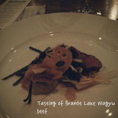 Beef - Tasting of Brandt Lake Wagyu beef w/ sweetbreads, shimeji mushrooms, pickled radish, Kohlrabi puree #calgary #yyc #yycfood