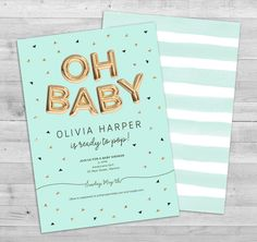 Letter Balloons Baby Shower Invitation Baby by WLAZdesignSHOP