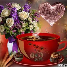 Cute Good Morning Images, Good Morning My Love, Good Morning Coffee, Good Morning Wishes, Coffee Images, Coffee Pictures, Tea Gif, Happy Weekend Quotes, Animated Heart