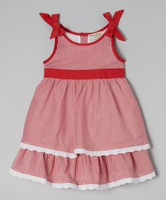 Look at this Red Stripe Ruffle Dress - Infant & Toddler on #zulily today!