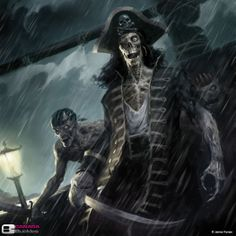 Zombies/skeletons, undead pirates. monster art.