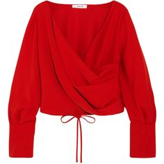 Adeam Wrap-effect crepe blouse (5,880 MXN) ❤ liked on Polyvore featuring tops, blouses, shirts, long sleeve tops, momma, tomato red, long sleeve wrap blouse, long-sleeve shirt, red long sleeve shirt and draped blouse
