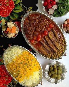 Persian food, as you already saw, is a must and I would never forget! (just hope internet has shown me the right ones haha) Iranian Dishes, Iranian Cuisine, Afghan Food Recipes, Iran Food, Food Garnishes, Fun Easy Recipes, Food Decoration, Food Platters, Middle Eastern Recipes