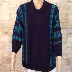 """Navy & Turquoise Snowflakes Dolman sleeves. 100% acrylic. Bust is 48"""". Length is  24 1/2"""". No holes, rips, stains or tears. It has a Peter Pan collar. Non smoking home damart Sweaters Crew & Scoop Necks"""