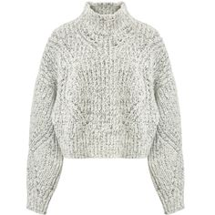 ISABEL MARANT WOOL ALPACA BLEND KNIT JUMPER (3.955 NOK) ❤ liked on Polyvore featuring tops, sweaters, chunky white sweater, white sweater, long-sleeve crop tops, chunky sweater and cropped knit sweater