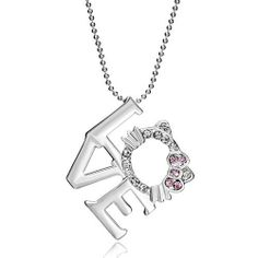 """Pugster Pink Crystal White Diamond Kitty Cat Animal Love Pendant Necklace 18"""" Gift Pugster. $23.99. Size (mm): 36.22*3.49*44.09. Weight (gram): 14.4. Color: Light Pink. Metal: Crystal, Silver Stone,"""