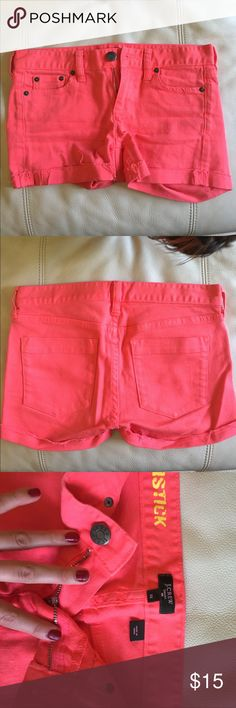 J Crew jean shorts in electric burnt orange J Crew Jean shorts in electric tangerine. shorts size 25. Brand new. Only worn once. Great condition. Perfect for a hot summer day. Pair with a flowy white tank or a v neck. Everyone needs fun shorts to kick around in for the summer. J. Crew Shorts Jean Shorts