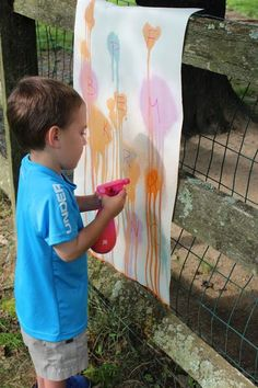 Spray (bottle) painting - help strengthen grip and control while spray painting with a spray bottle! Make it extra educational by adding letters, numbers, or sight words for students to spray as they are called out. The activity is great for letter recognition, letter sounds, letter associations, hand grip, fine motor control, gross motor control, and following directions.