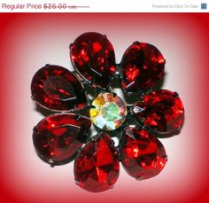 50% SALE Vintage Ruby Red Flower Hair Jewelry Clip Barrette | Accessories Sign Alex & Ani~Swarovski Crystal | Prom Bridesmaid Wedding Gift NOS by VintageTrinkets4u, $12.50