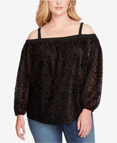 e9506d73fd390 Jessica Simpson Trendy Plus Size Trisha Off-The-Shoulder Top - Black
