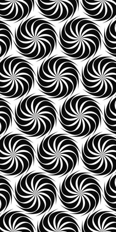 Repeating black and white hexagonal vector swirl pattern design