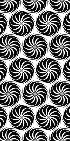 Repeating black and white hexagonal vector swirl pattern design