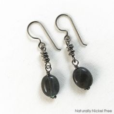 720f529f8 Labradorite bead earrings with helix style wire wrap chain links. Suspended  from allergy-safe. Naturally Nickel Free