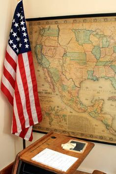 Vintage school desk with writing slate and period-appropriate America flag. American History, American Flag, Country School, Old School House, Map Globe, Vintage School, School Daze, Old Glory, Vintage Maps