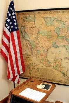 School Desk... America Flag & God In Our Schools