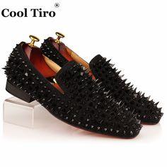 COOL TIRO Black Spikes Rhinestones Glitter Men Loafers Smoking Slipper Casual  Shoes Wedding Dress Men s Flats 31d33e6285c2