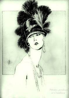 L'art et la mode, 1925 Magnifique portrait d'une élégante des années folles dessiné par A. Soulié pour l'Art et la mode 1925. Chapeau cloche orné de plumes luxuriantes par la Maison Lewis