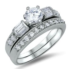 .925 Sterling Silver Wedding Ring set size 7 Engagement CZ Round Bridal New wz35 #Unbranded