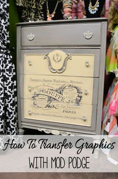 Use Mod Podge to transfer any image to furniture, canvas, paper, and more! Easy to do, just follow the tips in this tutorial!