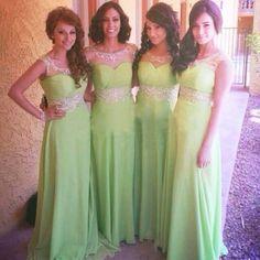 Long Chiffon A Line Sequins Beaded Mint Green Bridesmaid Dresses
