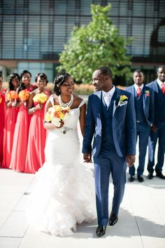 Multicultural Canadian Wedding by Samantha Clarke Photography: Diane and Kwaku Blue Coral Weddings, Coral Wedding Colors, Wedding Poses, Wedding Attire, Wedding Ideas, Wedding Hijab, Wedding Themes, Wedding Planning, Floral Bridesmaid Dresses
