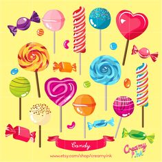 Candy Digital Vector Clip art/ Candies Digital Clipart Design Illustration / Food, Sweets, Dessert, Kids Party, Lollipop, / Download by CreamyInk on Etsy https://www.etsy.com/uk/listing/247419372/candy-digital-vector-clip-art-candies