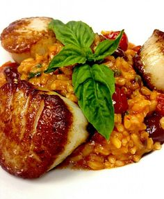 Seared Sea Scallops with Puttanesca style Risotto