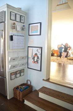 249035054369297386 Kitchen Command Center. Great use of space on the side of the refrigerator.