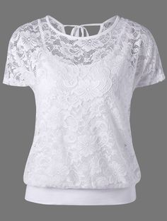 2017 Summer Women Lace Blouse Two Pieces Shirts White Crochet Hollow Out O-neck Short Sleeve Top And Vest Blusas White Lace Blouse, Lace Camisole, Lace Dress With Sleeves, Lace Blouses, Online Blouse Shopping, Chic Outfits, Fashion Outfits, Fashion Site, Men Fashion