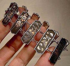 Items similar to Japan 950 Silver Komai Damascene Panels Bracelet 1900 1920 on Etsy Antique Jewelry, Silver Jewelry, Vintage Jewelry, Couple Jewelry, Best Jewelry Stores, Native American Jewelry, Jewelry Making Supplies, Women Jewelry