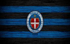 Download wallpapers Novara Calcio, Serie B, 4k, football, wooden texture, black and blue lines, Italian football club, Novara FC, logo, emblem, Novara, Italy