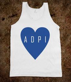 Alpha Delta Pi Frat Tanks - A D Pi Heart. Alpha Delta Pi Sorority Shirts. CLICK HERE to purchase :)
