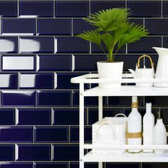 bevel edge, Blue brick gloss wall tile by Fabresa tiles. A deep royal blue. Size 10 x 20 cm or 4 x 8 inch bevelled. Prefect in Victorian houses, hallways. Metro Tiles Bathroom, Brick Bathroom, Bathroom Wall, Victorian Hallway Tiles, Tiled Hallway, Victorian Porch, Victorian Homes, Porch Tile, Tile Trim