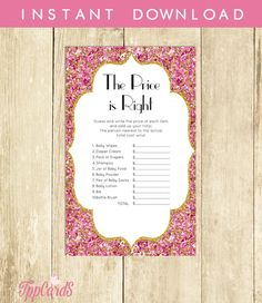 Hot Pink Baby Shower Price is Right Game Printable Baby Shower Game Instant Download Hot Pink and Gold The Price is Right Game 0042A-RP by TppCardS #tppcards #printable #invitations