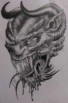 demon head by twyliteskyz on DeviantArt Bone Hand Tattoo, Skull Hand Tattoo, Skull Sleeve Tattoos, Skull Tattoo Design, Tattoo Designs, Wicked Tattoos, Creepy Tattoos, Head Tattoos, Grim Reaper Tattoo