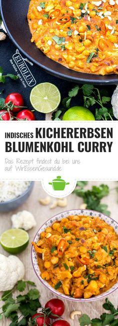 Indisches Kichererbsen Blumenkohl Curry - WirEssenGesund - My list of the most healthy food recipes Chicken Salad Recipes, Healthy Salad Recipes, Vegetarian Recipes, Cauliflower Curry, Chickpea Curry, How To Make Salad, Easy Meals, Dinner Recipes, Healthy Recipes