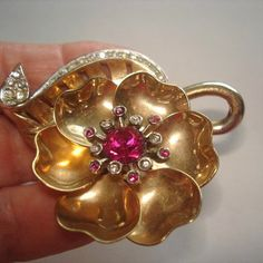 Signed Marcel Boucher Articulating Vintage Jewelry Flower Brooch Rhinestone Gold Tone.1.75 x 2.25 Very Good Condition for age.