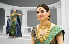 Tamanna in antique gold jewellery - Latest Jewellery Designs Indian Jewellery Design, Indian Jewelry, Jewellery Designs, Latest Jewellery, Handmade Jewellery, South Indian Bride, Indian Bridal, Bridal Jewelry, Gold Jewelry