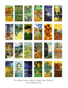 Items similar to Vincent Van Gogh domino digital collage sheet x fine art on Etsy Vincent Van Gogh, Collage Sheet, Collage Art, Desenhos Van Gogh, Van Gogh Wallpaper, Van Gogh Pinturas, Selling Handmade Items, Artist Supplies, Journal Stickers