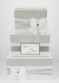 Card box / Wedding Box / Wedding money box - 3 tier - Personalized - silver on Etsy, $89.00