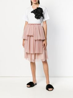 Ainea asymmetric tiered tulle skirt