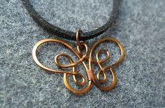 copper necklace  copper wire necklace buterfly by MakeMeStyle