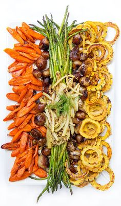 Fabulous Fall-Winter Roasted Vegetable Platter • a festive appetizer or side dish for the holidays • Panning The Globe