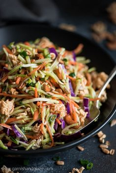 This sweet and crunchy Asian Ramen Broccoli Slaw is the perfect side for Sunday dinner or your next barbecue party! Broccoli Slaw Dressing, Asian Broccoli Slaw, Broccoli Slaw Recipes, Salad Recipes, Broccoli Salad, Dinner Dishes, Side Dishes, Main Dishes, Suddenly Salad