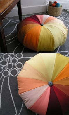DIY Rainbow Pouf -- I LOVE THIS SO MUCH. However, I'm sewing illiterate. Can someone just make them for me???