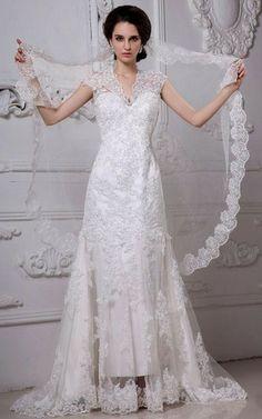 Perlenbesetztes zweistück kurze Ärmeln Etui romantisches Brautkleid mit Knöpfen